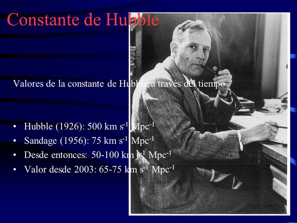 Constante de Hubble Valores de la constante de Hubble a través del tiempo. Hubble (1926): 500 km s-1 Mpc-1.