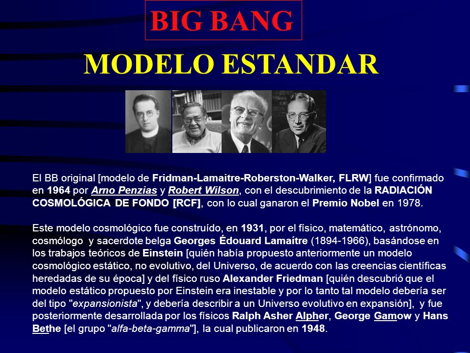 BIG BANG MODELO ESTANDAR