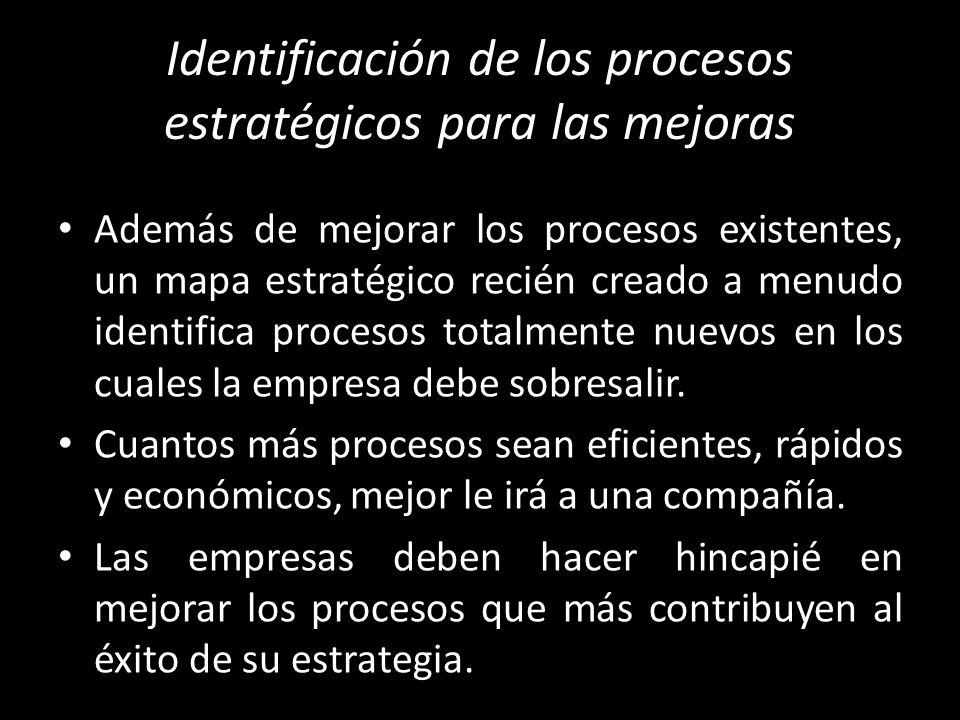 Identificación de los procesos estratégicos para las mejoras