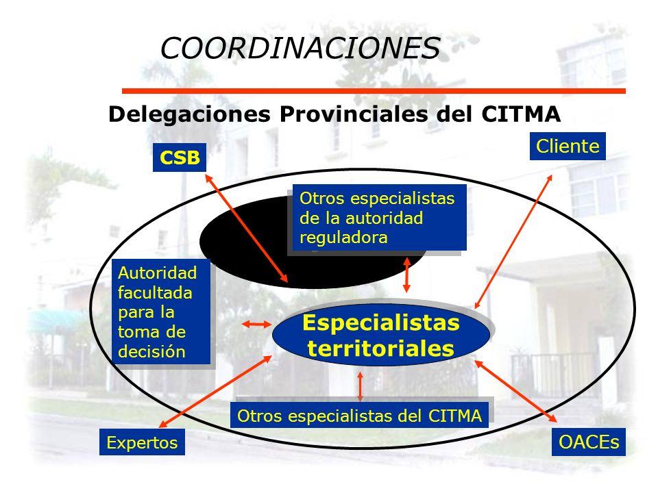 COORDINACIONES Delegaciones Provinciales del CITMA Especialistas