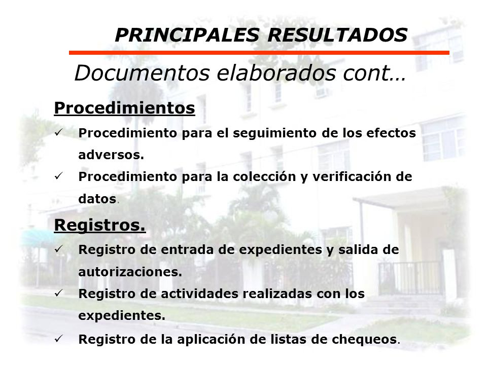 Documentos elaborados cont…