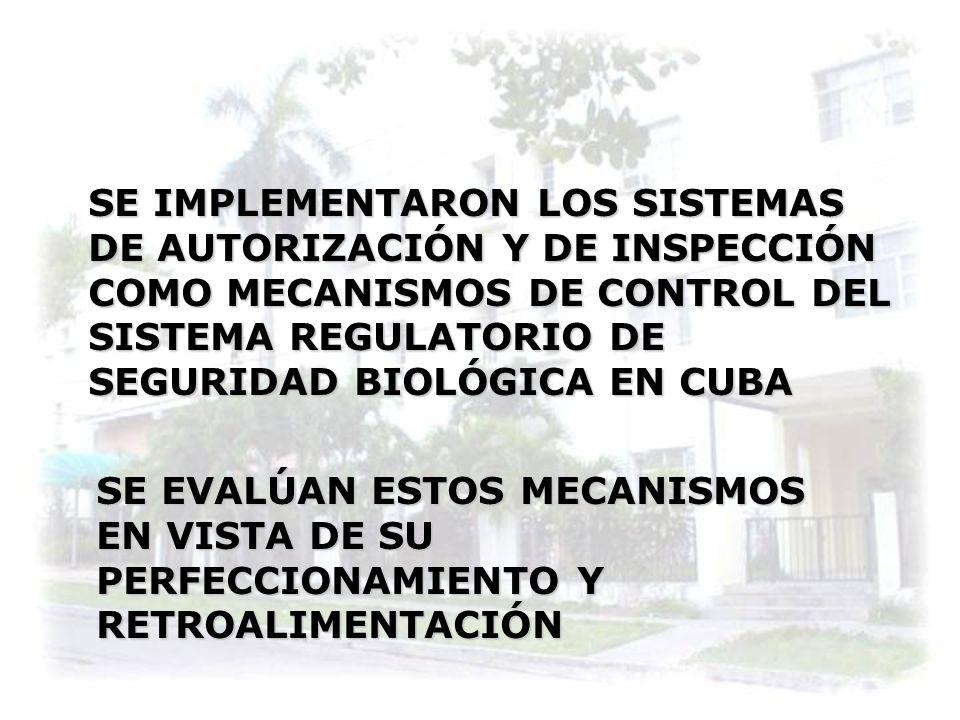 SE IMPLEMENTARON LOS SISTEMAS DE AUTORIZACIÓN Y DE INSPECCIÓN COMO MECANISMOS DE CONTROL DEL SISTEMA REGULATORIO DE SEGURIDAD BIOLÓGICA EN CUBA