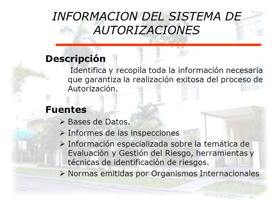 INFORMACION DEL SISTEMA DE AUTORIZACIONES