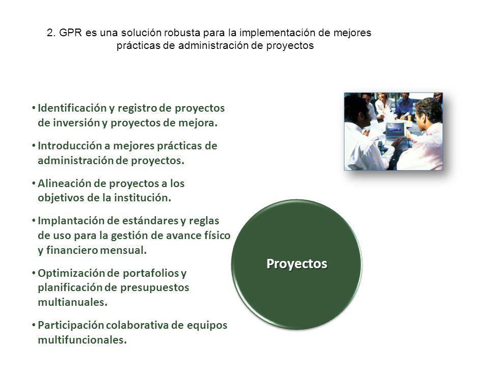 2. GPR es una solución robusta para la implementación de mejores prácticas de administración de proyectos