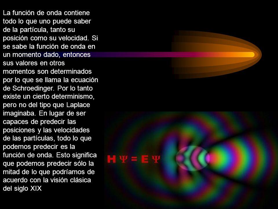 La función de onda contiene todo lo que uno puede saber de la partícula, tanto su posición como su velocidad.