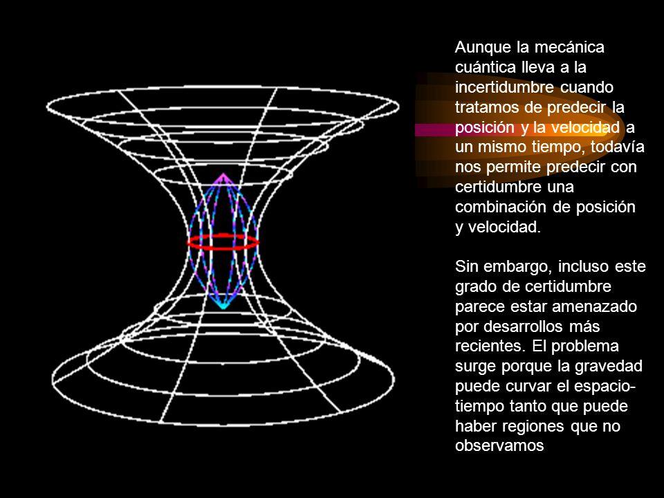 Aunque la mecánica cuántica lleva a la incertidumbre cuando tratamos de predecir la posición y la velocidad a un mismo tiempo, todavía nos permite predecir con certidumbre una combinación de posición y velocidad.