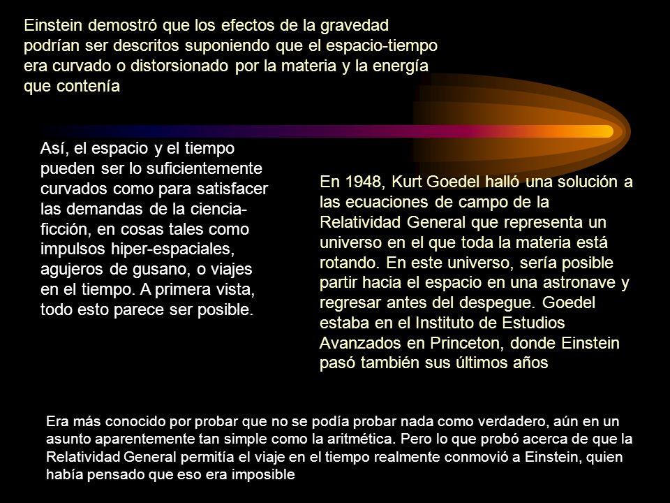 Einstein demostró que los efectos de la gravedad podrían ser descritos suponiendo que el espacio-tiempo era curvado o distorsionado por la materia y la energía que contenía
