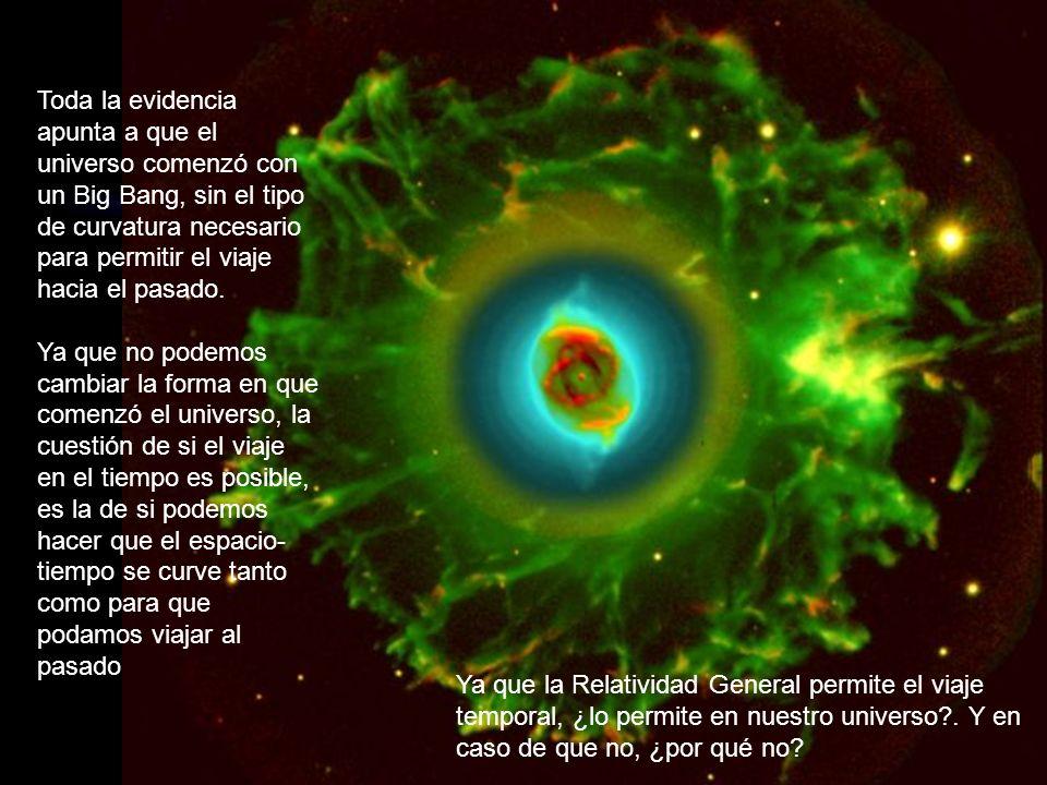 Toda la evidencia apunta a que el universo comenzó con un Big Bang, sin el tipo de curvatura necesario para permitir el viaje hacia el pasado.