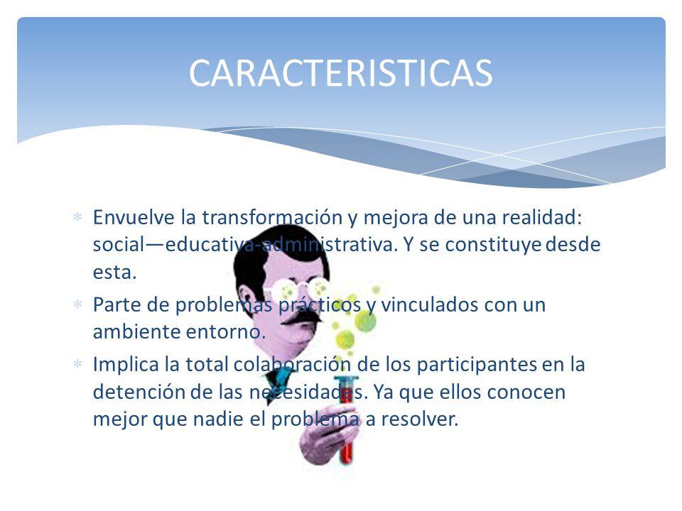 CARACTERISTICAS Envuelve la transformación y mejora de una realidad: social—educativa-administrativa. Y se constituye desde esta.