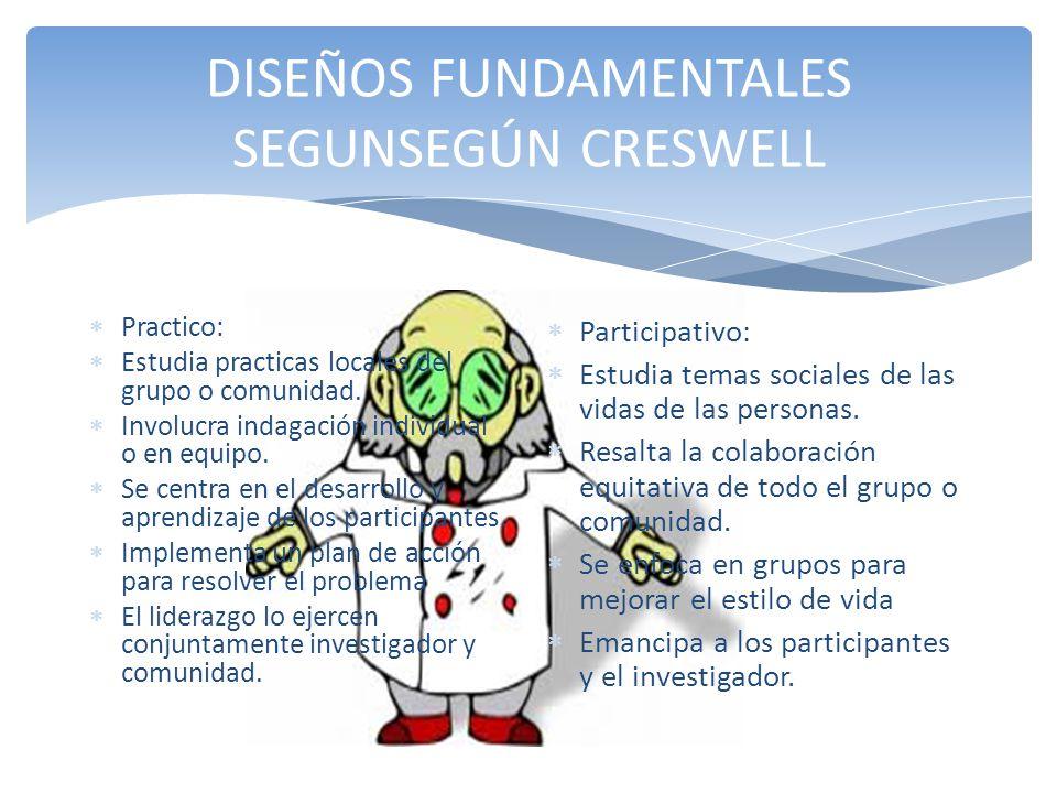 DISEÑOS FUNDAMENTALES SEGUNSEGÚN CRESWELL