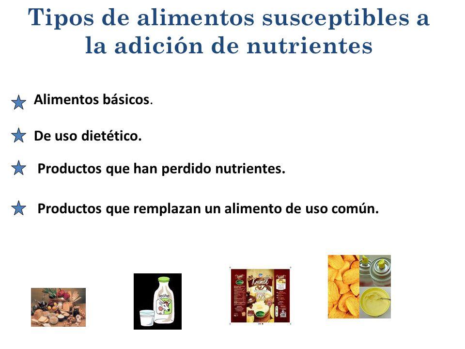Tipos de alimentos susceptibles a la adición de nutrientes