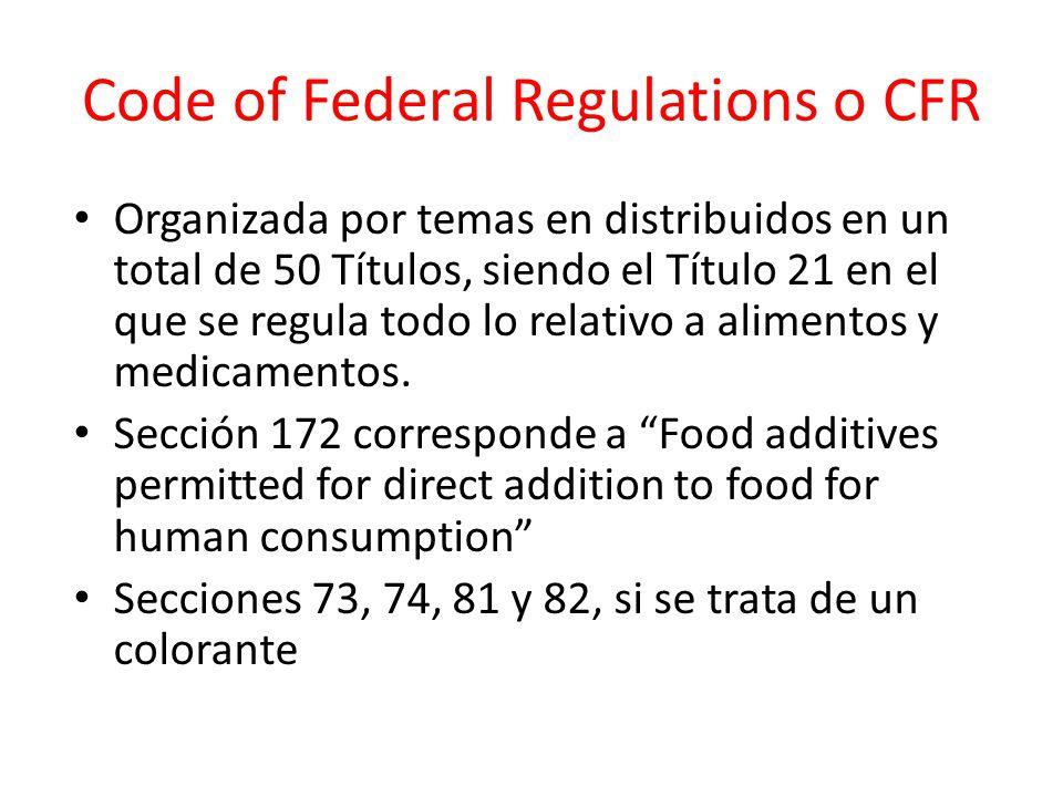 Code of Federal Regulations o CFR