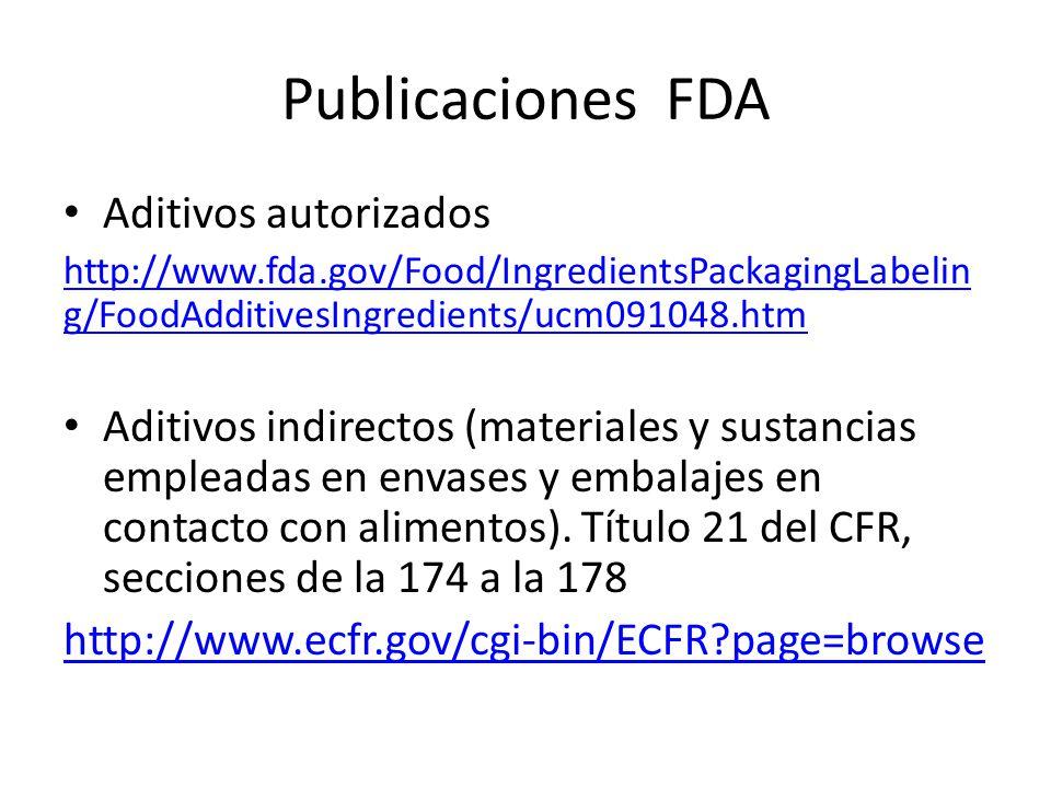Publicaciones FDA Aditivos autorizados