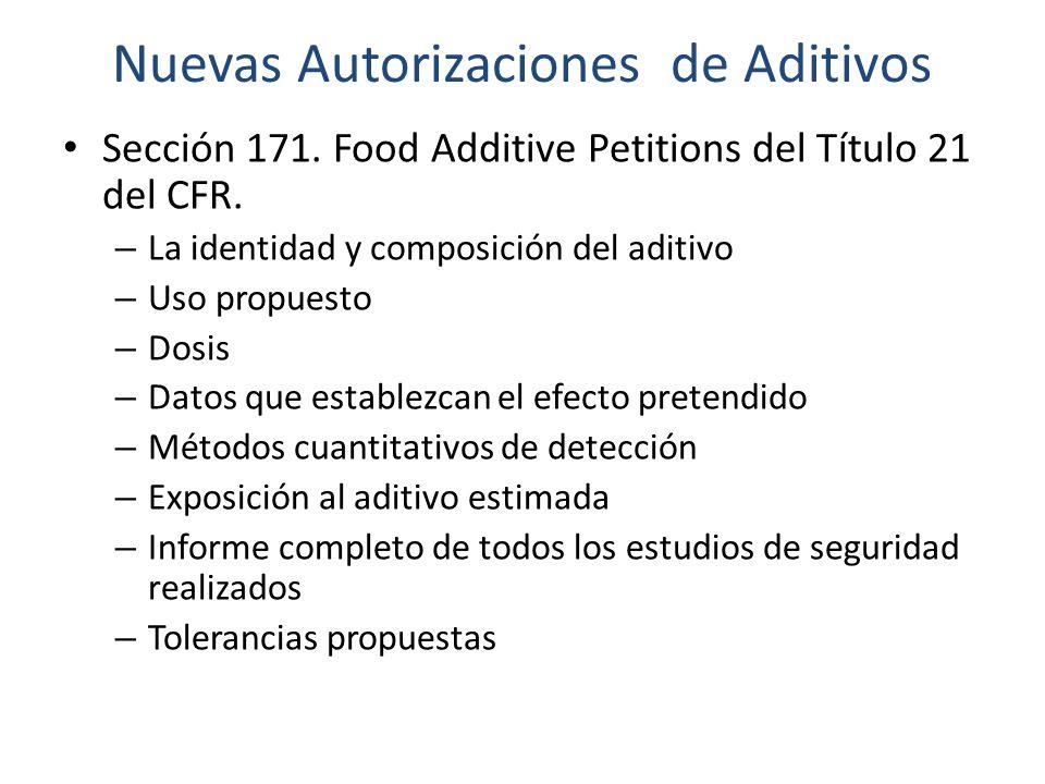 Nuevas Autorizaciones de Aditivos