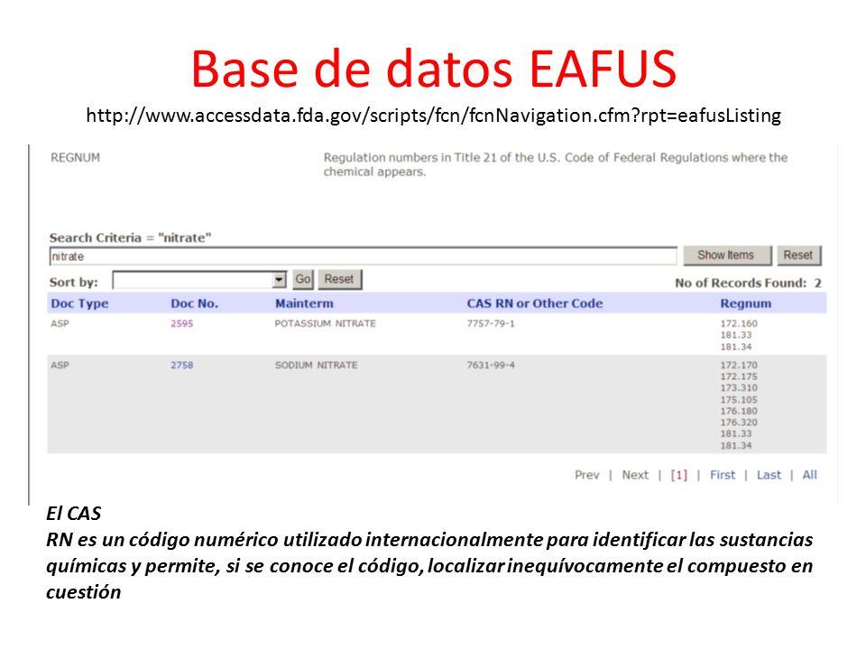Base de datos EAFUS http://www. accessdata. fda
