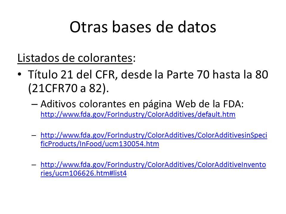 Otras bases de datos Listados de colorantes: