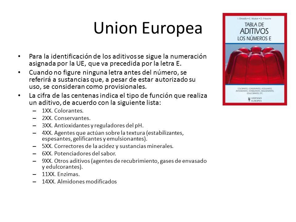 Union Europea Para la identificación de los aditivos se sigue la numeración asignada por la UE, que va precedida por la letra E.