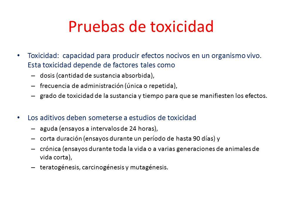 Pruebas de toxicidad Toxicidad: capacidad para producir efectos nocivos en un organismo vivo. Esta toxicidad depende de factores tales como.