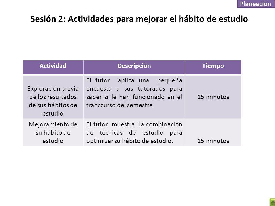 Sesión 2: Actividades para mejorar el hábito de estudio
