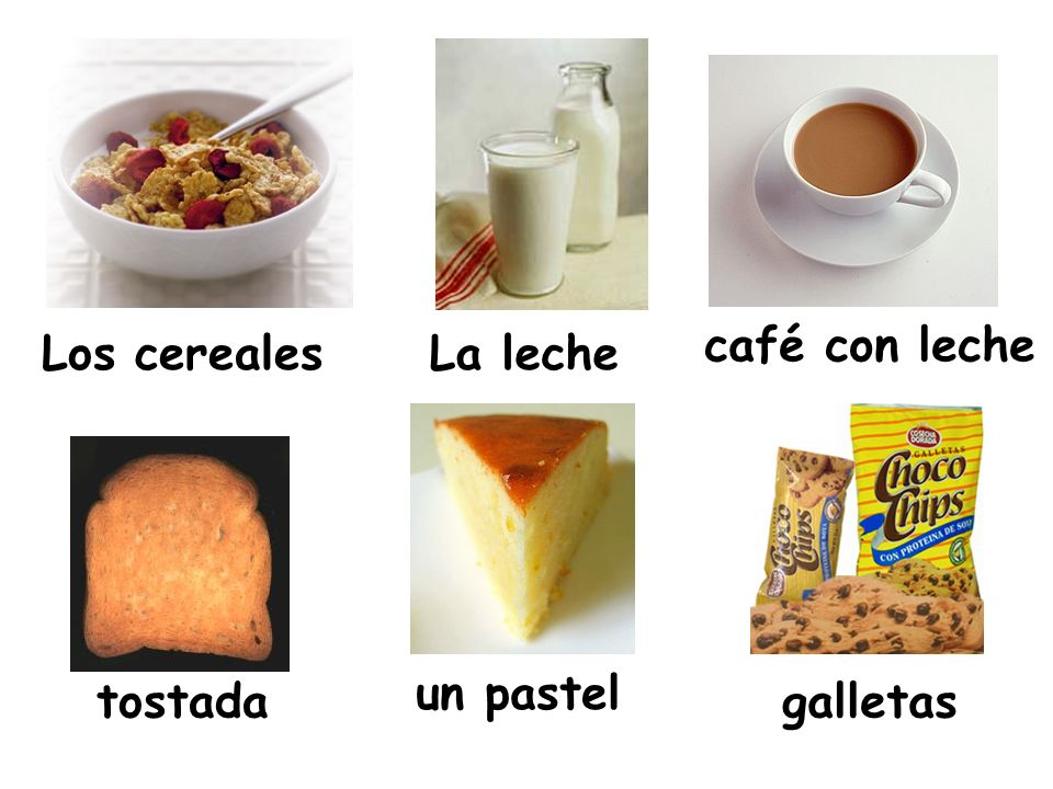 café con leche Los cereales La leche un pastel tostada galletas