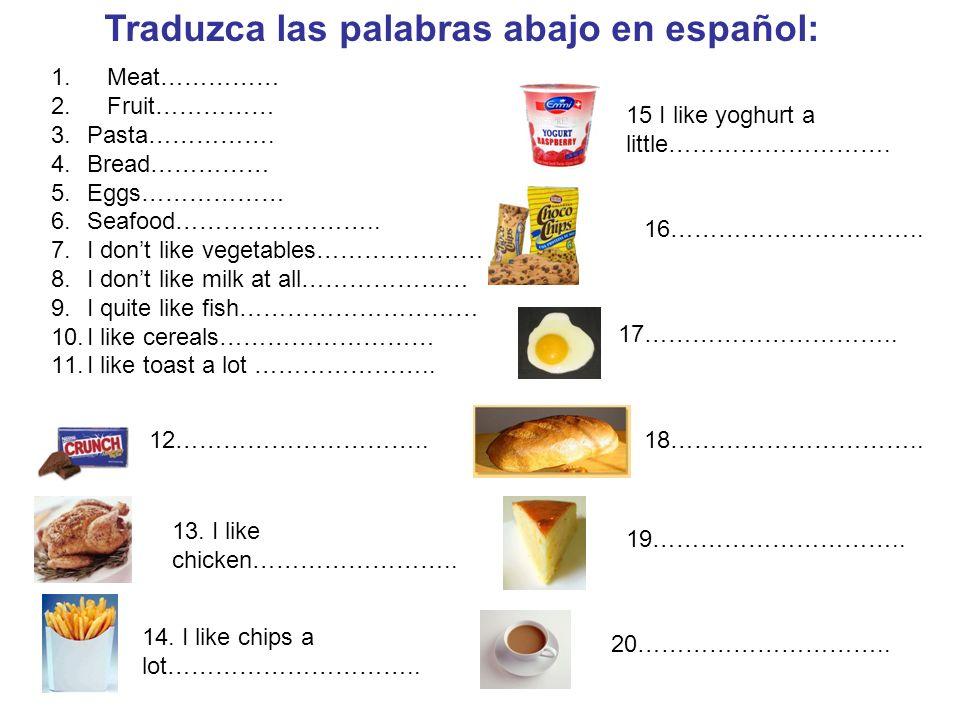 Traduzca las palabras abajo en español:
