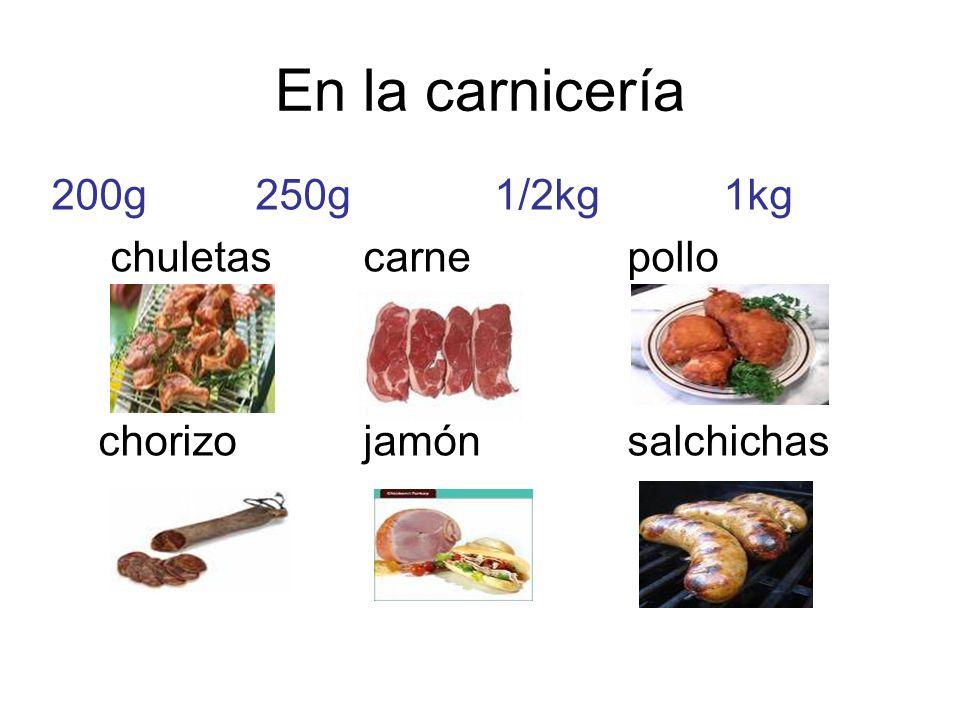 En la carnicería 200g 250g 1/2kg 1kg chuletas carne pollo