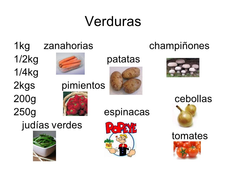 Verduras 1kg zanahorias champiñones 1/2kg patatas 1/4kg 2kgs pimientos
