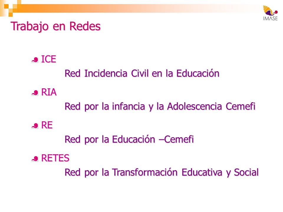 Trabajo en Redes ICE Red Incidencia Civil en la Educación RIA