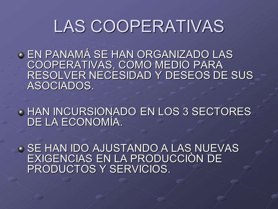 LAS COOPERATIVAS EN PANAMÁ SE HAN ORGANIZADO LAS COOPERATIVAS, COMO MEDIO PARA RESOLVER NECESIDAD Y DESEOS DE SUS ASOCIADOS.