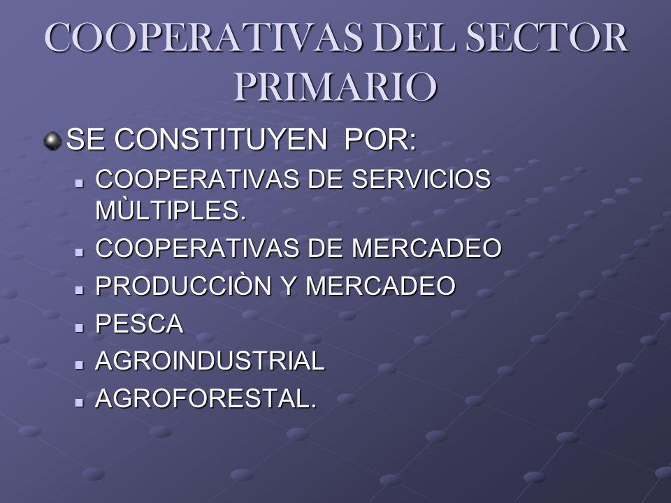 COOPERATIVAS DEL SECTOR PRIMARIO