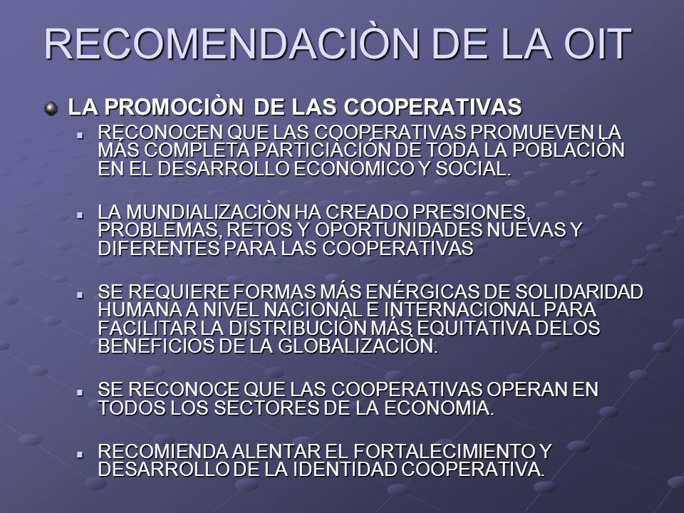 RECOMENDACIÒN DE LA OIT