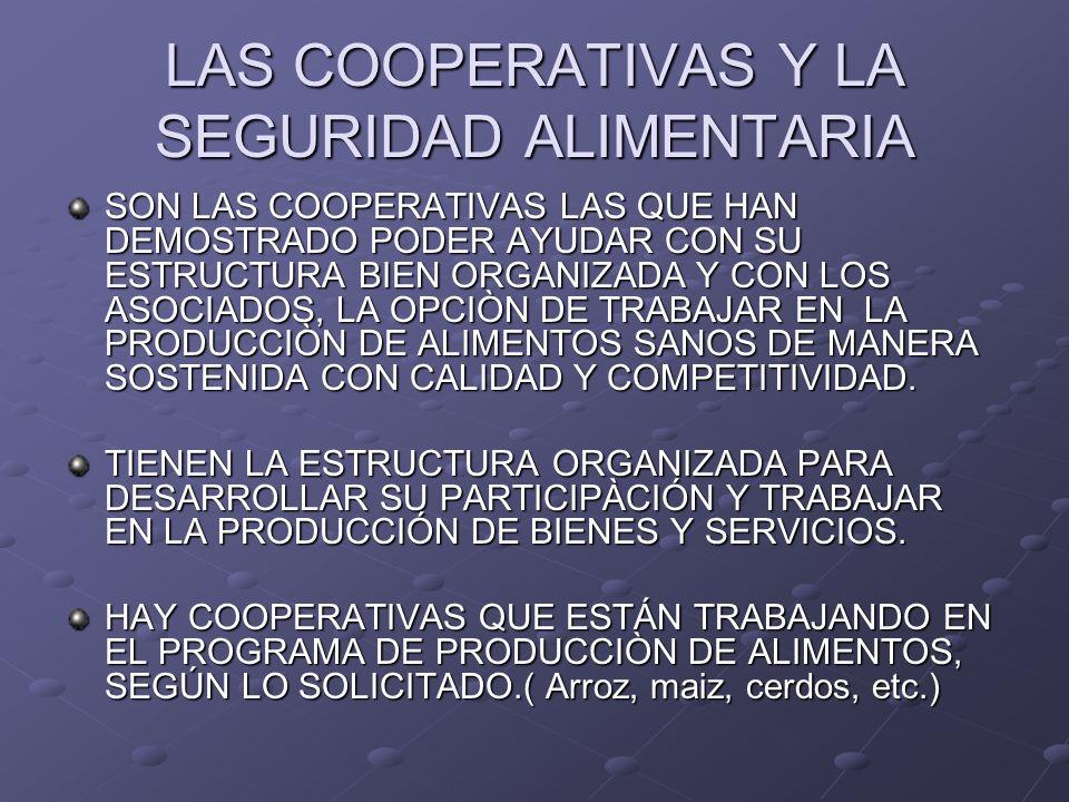 LAS COOPERATIVAS Y LA SEGURIDAD ALIMENTARIA