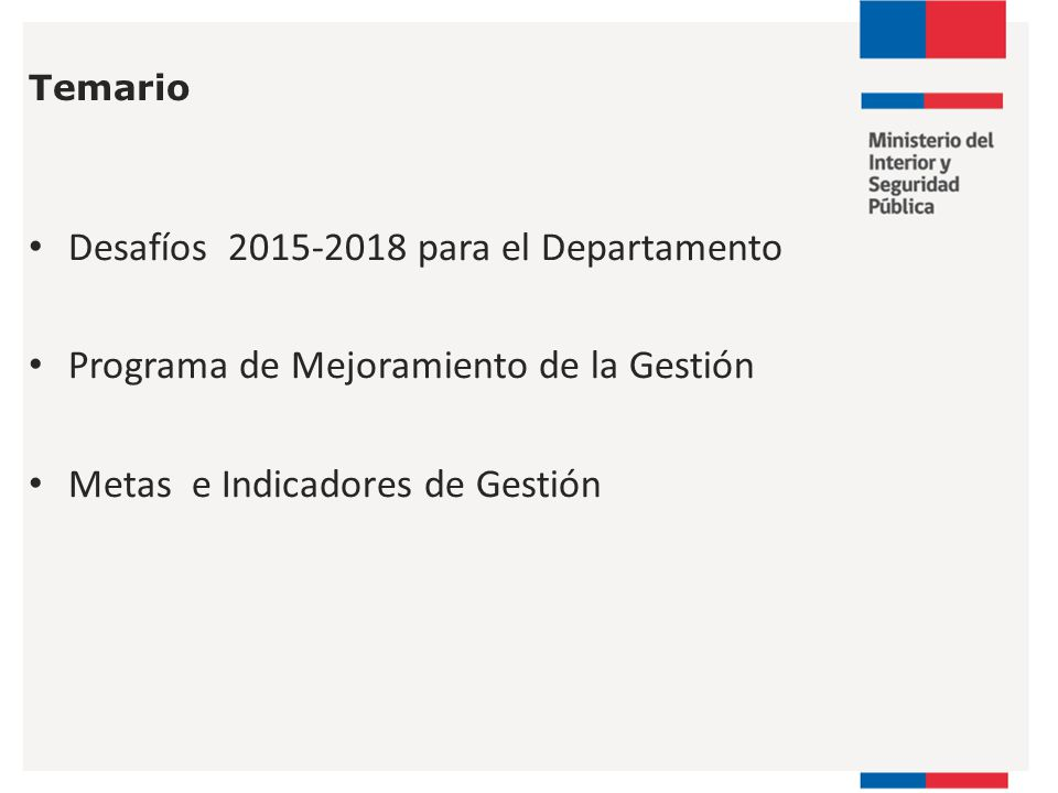 Desafíos 2015-2018 para el Departamento