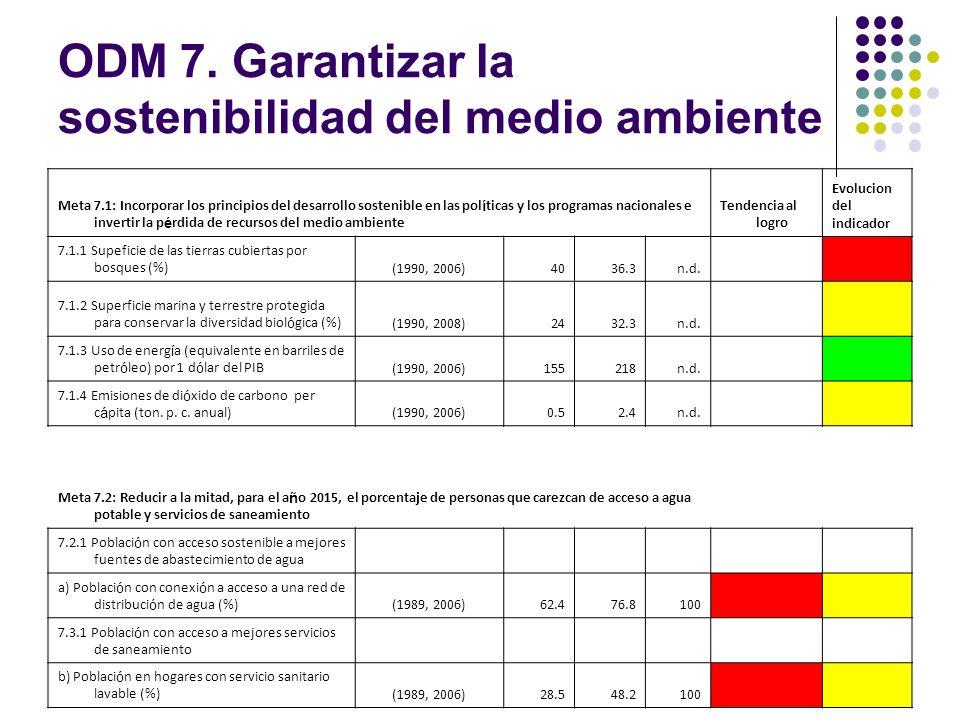 ODM 7. Garantizar la sostenibilidad del medio ambiente