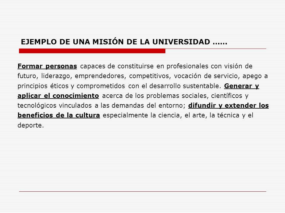 EJEMPLO DE UNA MISIÓN DE LA UNIVERSIDAD ……