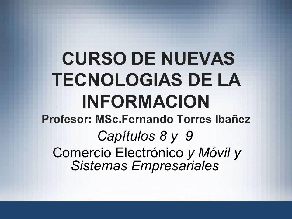 Capítulos 8 y 9 Comercio Electrónico y Móvil y Sistemas Empresariales