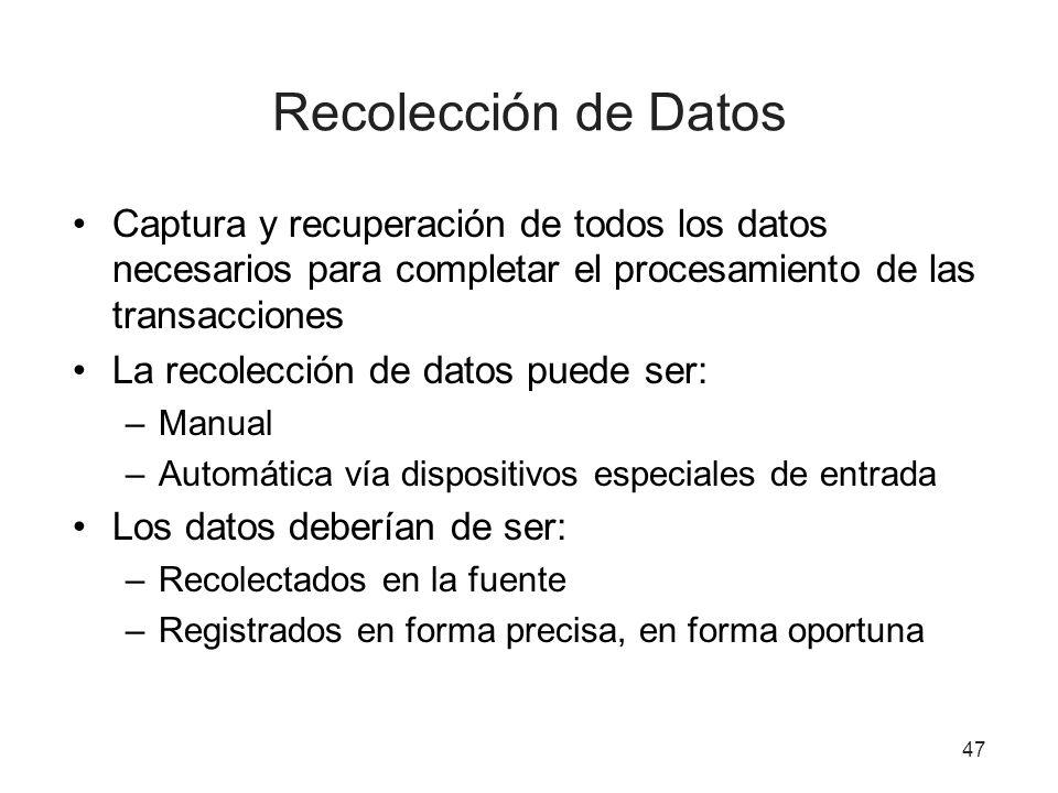 Recolección de Datos Captura y recuperación de todos los datos necesarios para completar el procesamiento de las transacciones.