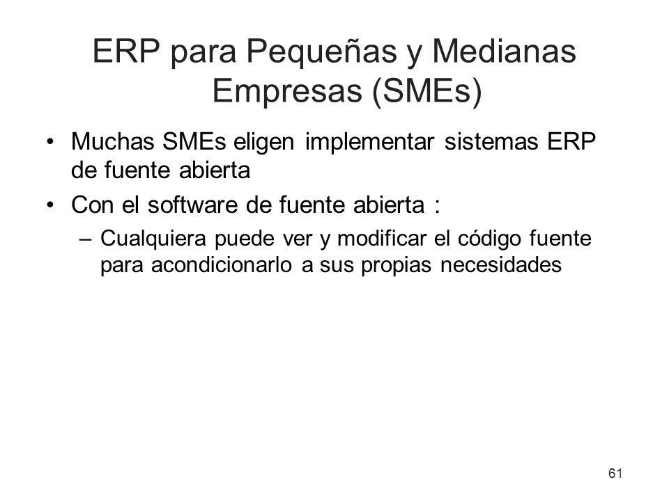 ERP para Pequeñas y Medianas Empresas (SMEs)