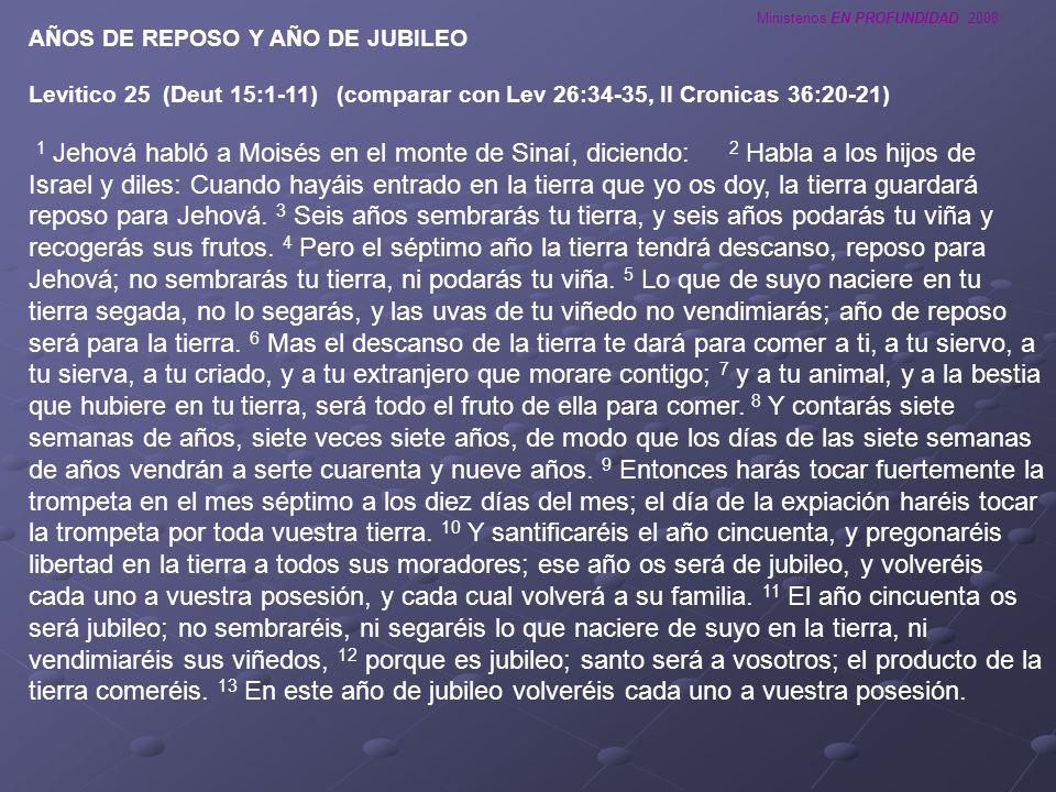 AÑOS DE REPOSO Y AÑO DE JUBILEO