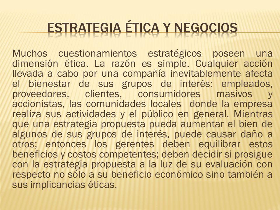 ESTRATEGIA ÉTICA Y NEGOCIOS