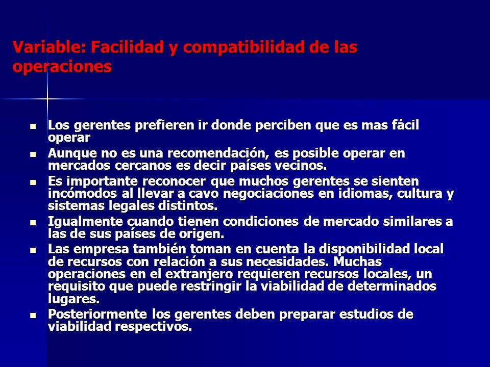 Variable: Facilidad y compatibilidad de las operaciones