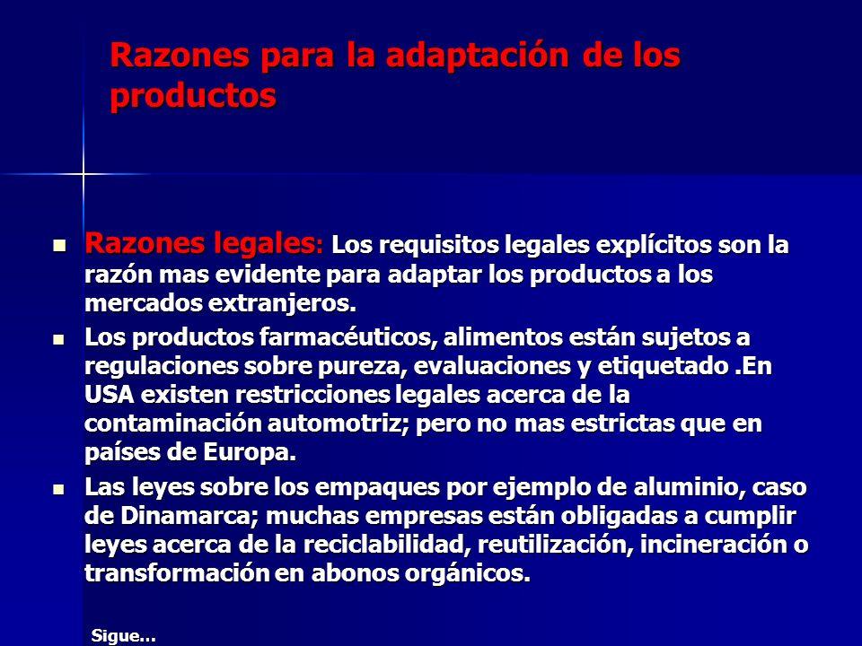 Razones para la adaptación de los productos