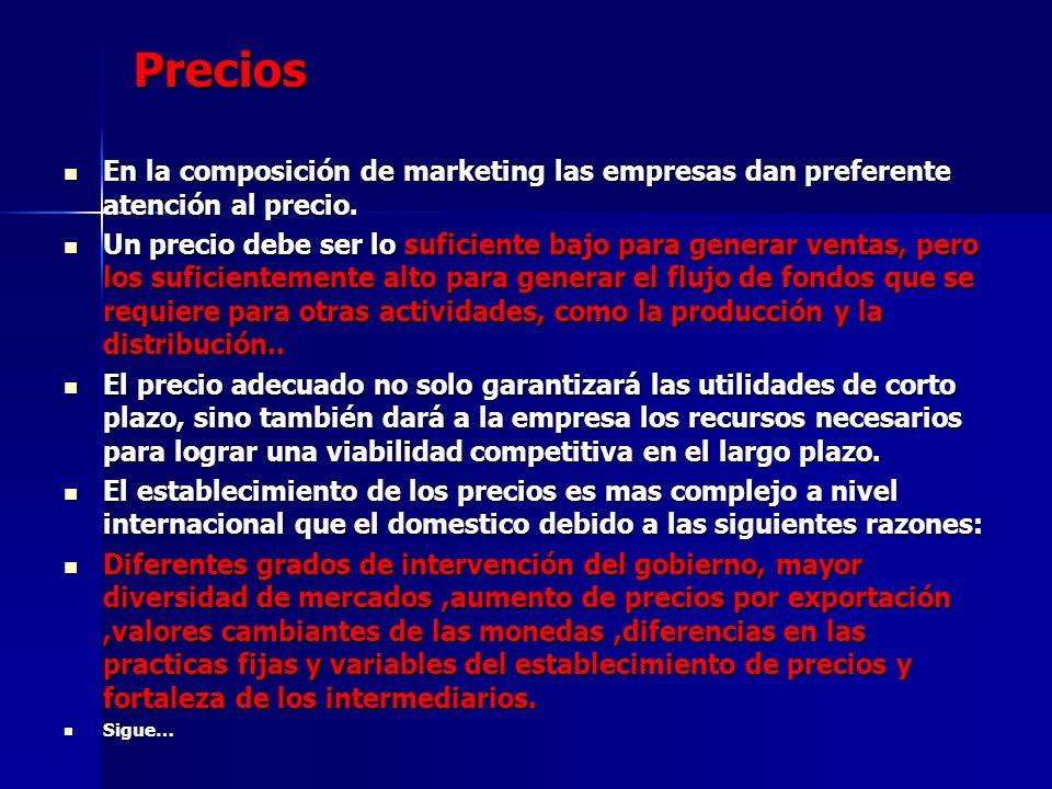 Precios En la composición de marketing las empresas dan preferente atención al precio.