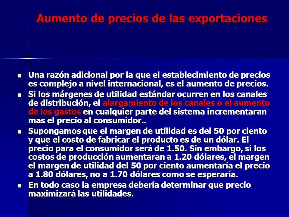 Aumento de precios de las exportaciones