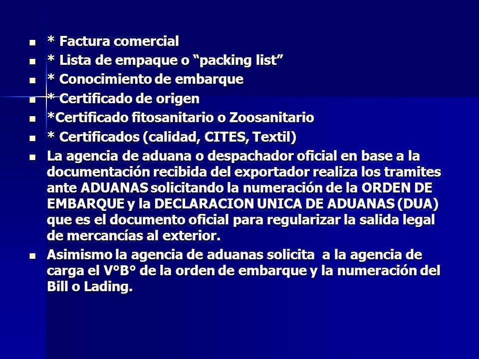 * Factura comercial * Lista de empaque o packing list * Conocimiento de embarque. * Certificado de origen.