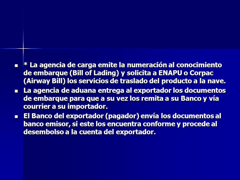 * La agencia de carga emite la numeración al conocimiento de embarque (Bill of Lading) y solicita a ENAPU o Corpac (Airway Bill) los servicios de traslado del producto a la nave.
