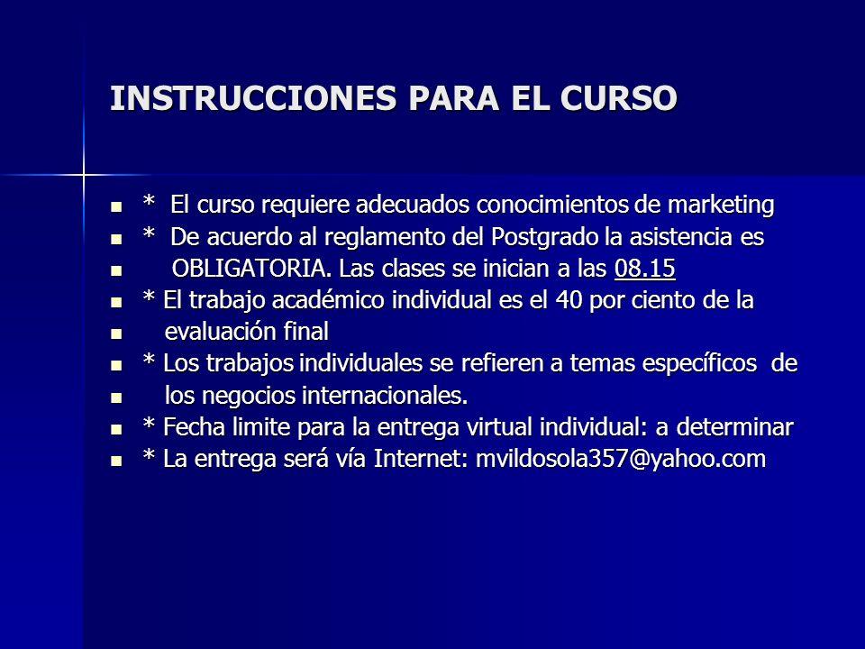INSTRUCCIONES PARA EL CURSO
