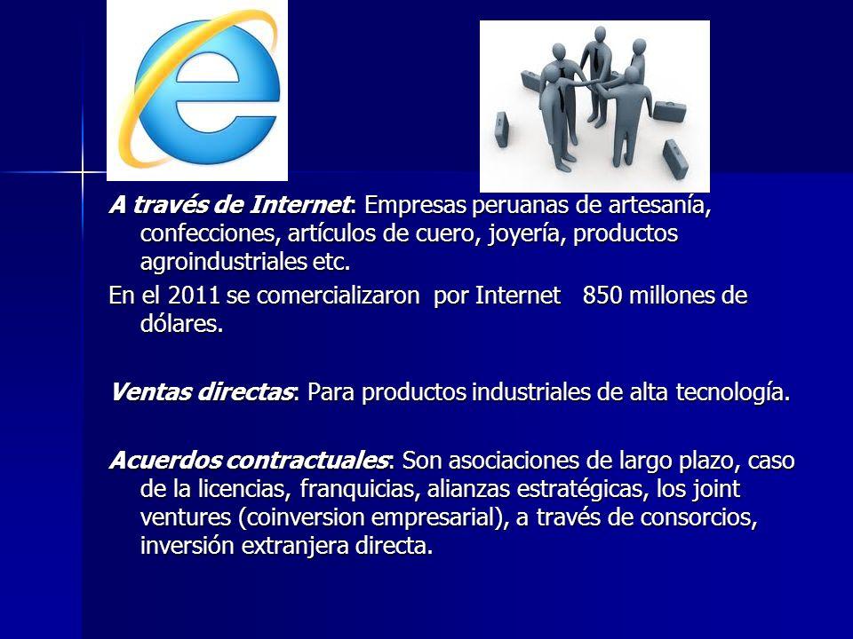 A través de Internet: Empresas peruanas de artesanía, confecciones, artículos de cuero, joyería, productos agroindustriales etc.