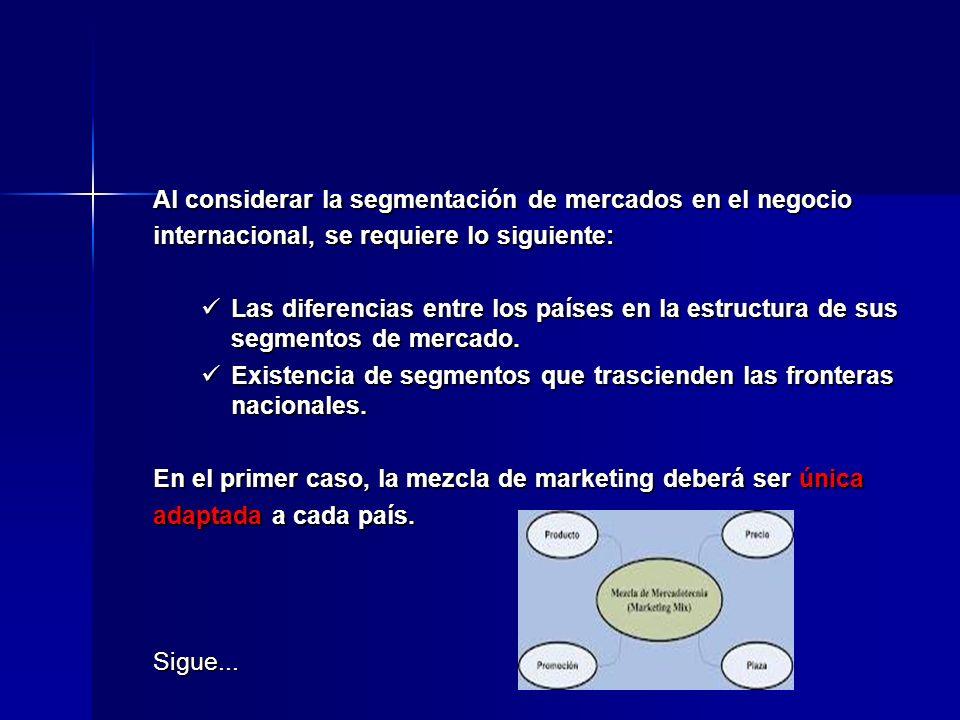 Al considerar la segmentación de mercados en el negocio