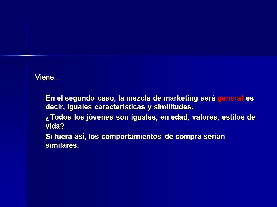 Viene... En el segundo caso, la mezcla de marketing será general es decir, iguales características y similitudes.